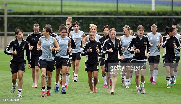 The team of Germany runs during the Germany Women national team training session at Wurfplatz stadium on June 22 2011 in Berlin Germany
