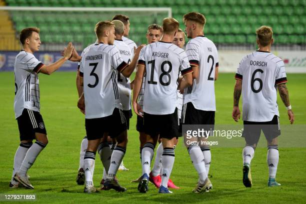 The team of Germany U21 celebrates their third goal during the UEFA Euro Under 21 Qualifier match between Moldova U21 and Germany U21 at on October...