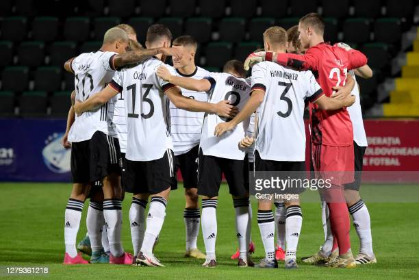The team of Germany U21 in the huddle prior to the UEFA Euro Under 21 Qualifier match between Moldova U21 and Germany U21 at on October 09, 2020 in...