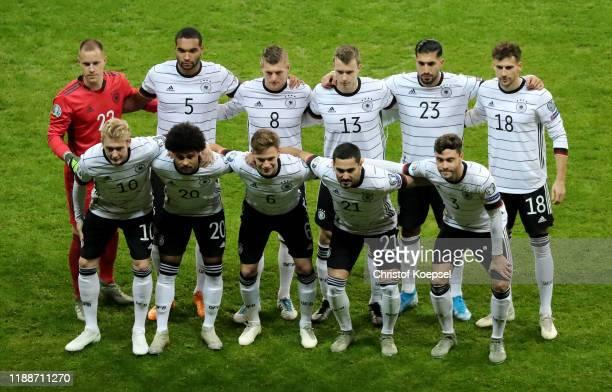 The team of Germany with MarcAndre ter Stegen Jonathan Tah Toni Kroos Lukas Klostermann Emre Can Leon Goretzka Julian Brandt Serge Gnabry Joshua...