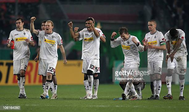 The team of Gladbach celebrates after winning the DFB Cup match between Borussia M'gladbach and Bayer Leverkusen at Borussia Park on October 27, 2010...