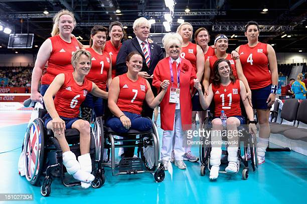 The team of Great Britain poses with Boris Johnson mayor of London and actress Barbara Windsor after the Women's Sitting Volleyball Preliminaries...