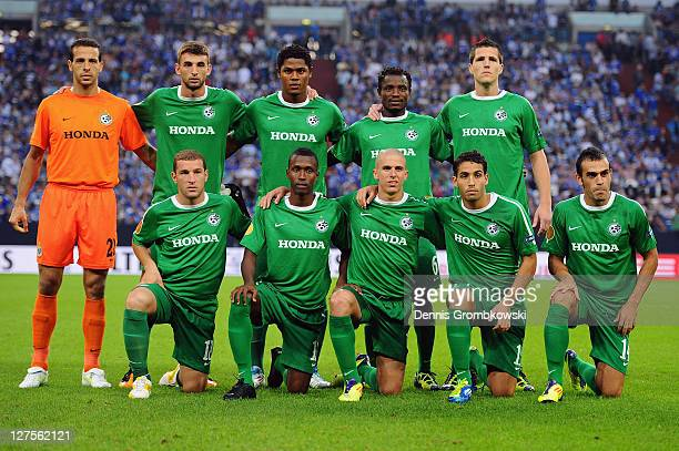 The team of Haifa lines up prior to the UEFA Europa League match between FC Schalke 04 and Maccabi Haifa FC at Veltins Arena on September 29, 2011 in...
