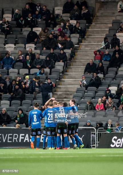 The team of Halmstad BK celebrates after Marcus Mathisen of Halmstad BK scores 12 to of Halmstad BK during the Allsvenskan match between Hammarby IF...
