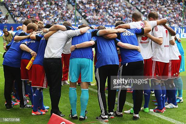 The team of Hamburg is seen prior to the Bundesliga match between Hamburger SV and 1 FC Nuernberg at Imtech Arena on August 25 2012 in Hamburg Germany