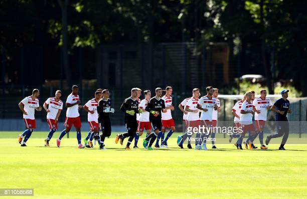 The team of Hamburg runs during a training session of Hamburger SV at Volksparkstadion on July 9 2017 in Hamburg Germany