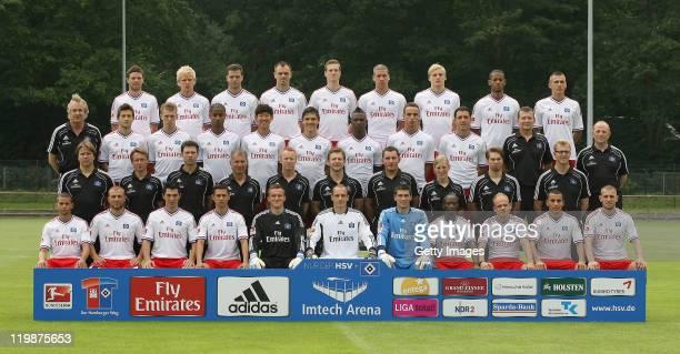 The team of Hamburger SV Marcus Berg Soeren Bertram Dennis Diekmeier Heiko Westermann Marcell Jansen Jeffrey Bruma Hanno Behrens Dennis Aogo Robert...