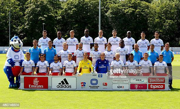 The team of Hamburger SV poses during the team presentation of Hamburger SV at Volksparkstadion on July 15 2015 in Hamburg Germany