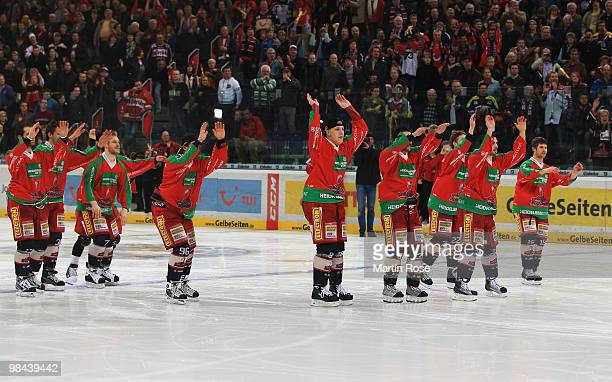 The team of Hannover celebrate after winning the third DEL play off semi final match between Hannover Scorpions and ERC Ingolstadt at TUI Arena on...