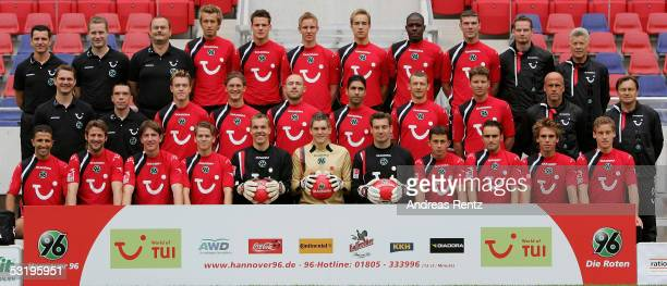 The Team of Hanover 96 posing for a team photograph during the Team Presentation of Hanover 96 on July 5 2005 in Hanover Germany 1st row Altin Lala...