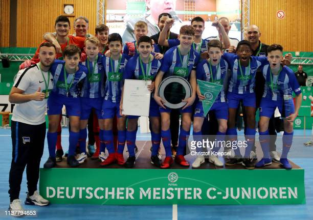 The team of Hertha BSC Berlin celebrates winning the CJuniors of the German Futsal Championship at Sporthalle West on March 23 2019 in Gevelsberg...
