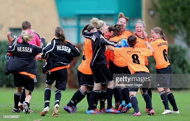 The team of Hessen celebrates after winning the decision match between Westfalen and Hessen during the Women's U17 Federal State Cup at the Sport...