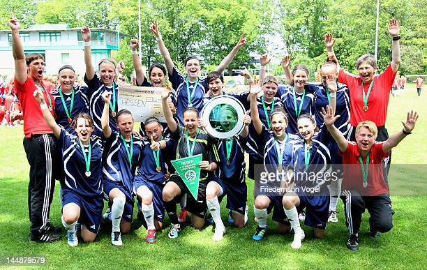 The team of Hessen celebrates the first place of Women's U15 Federal State Cup at the Sport School Wedau on May 20 2012 in Duisburg Germany