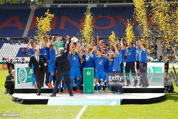 The Team of Hoffenheim celebrate during the A Juniors Bundesliga Final between Hannover 96 and 1899 Hoffenheim at HDIArena on June 22 2014 in...