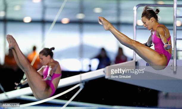 The team of Hungary competes in the women's 10m synchronised platform final during day seven of the 32nd LEN European Swimming Championships 2014 at...