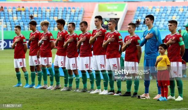 The team of Hungary line up before the FIFA U17 World Cup Brazil 2019 Group B match between Hungary and Ecuador at Estadio Olimpico de Goias on...