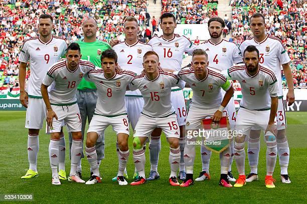The team of Hungary upper row from left to right Adam Szalai Gabor Kiraly Adam Lang Adam Pinter Tamas Kadar Roland Juhasz lower row from left to...
