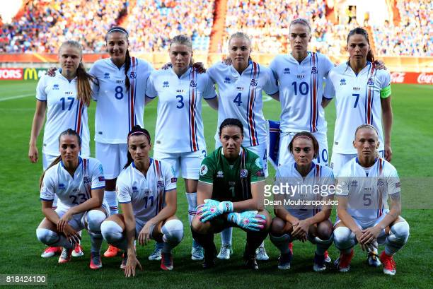The team of Iceland line up before the Group C match between France and Iceland during the UEFA Women's Euro 2017 at Koning Willem II Stadium on July...