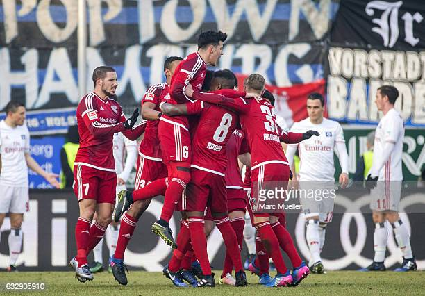 The team of Ingolstadt celebrate after scoring the second goal during the Bundesliga match between FC Ingolstadt 04 and Hamburger SV at Audi...
