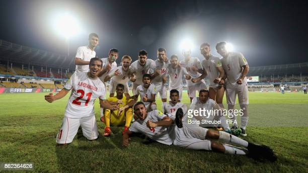 The team of Iran celebrate after winning the FIFA U17 World Cup India 2017 Round of 16 match between Mali and Iraq at Pandit Jawaharlal Nehru Stadium...