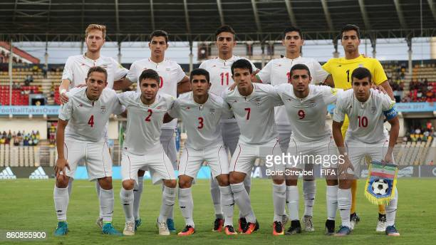 The team of Iran pose for a group picture prior to the FIFA U17 World Cup India 2017 group C match between Costa Rica and Iran at Pandit Jawaharlal...