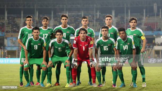 The team of Iraq pose for a group picture prior to the FIFA U17 World Cup India 2017 Round of 16 match between Mali and Iraq at Pandit Jawaharlal...