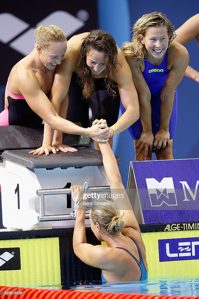 The team of Italy celebrates after winning the gold medal in the women's 4x200m freestyle final during day 9 of the 32nd LEN European Swimming Championships 2014 at Europa-Sportpark on August 21, 2014 in Berlin, Germany.