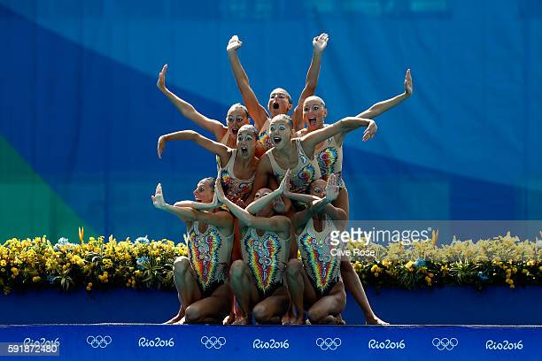 The team of Italy compete during the Synchronised Swimming Teams Technical Routine at the Maria Lenk Aquatics Centre on Day 13 of the 2016 Rio...