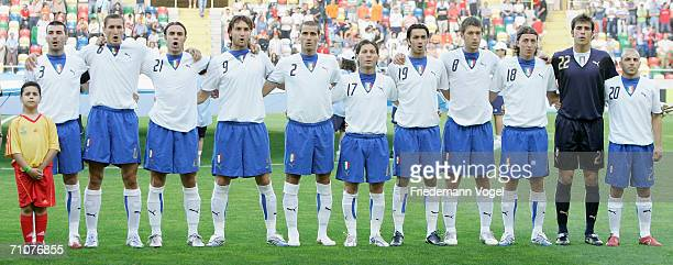 The team of Italy during national anthem before the UEFA U21's Championship Group B match between Netherlands and Italy at the Municipal Stadium on...