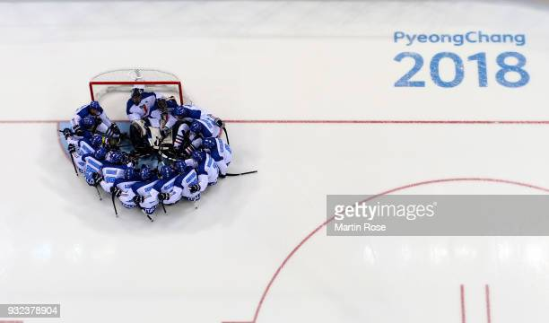 The team of Italy lines up before the Ice Hockey semi final game between United States and Italy during day six of the PyeongChang 2018 Paralympic...