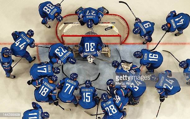 The team of Italy lines up before the IIHF World Championship group S match between Italy and Sweden at Ericsson Globe on May 12 2012 in Stockholm...