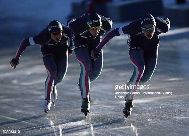 The team of Italy participates in the men team pursuit during day 1 of ISU speed skating junior world cup at ice rink Pine stadium on January 16 2016...