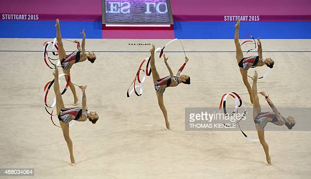 The team of Italy performs in the groups ribbon final at the World Rhythmic Gymnastics Championships in Stuttgart southwestern Germany on September...