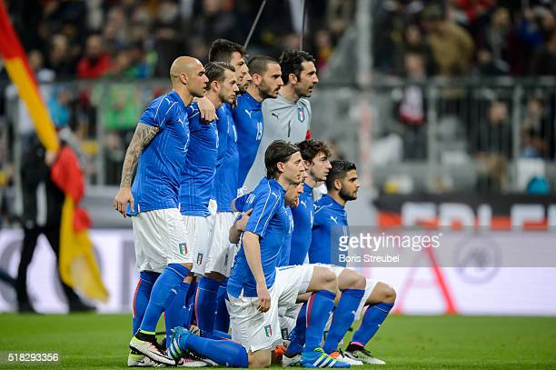 The team of Italy pose prior to the International Friendly match between Germany and Italy at Allianz Arena on March 29 2016 in Munich Germany