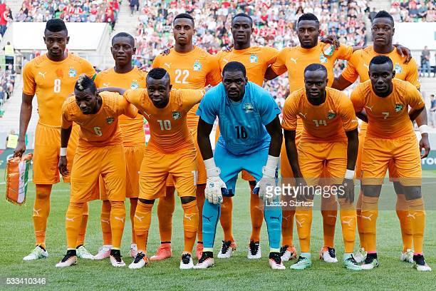 The team of Ivory Coast upper row from left to right Salomon Kalou Max Alain Gradel Jonathan Kodija Korfu Djidji Wilfried Kanon Lamine Kone lower row...