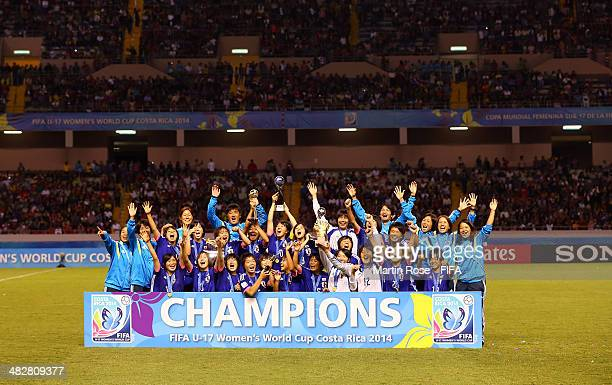 The team of Japan celebrate after winning the FIFA U17 Women's World Cup 2014 final match between Japan and Spain at Estadio Nacional on April 4 2014...