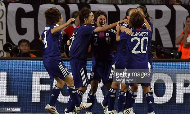 The team of Japan celebrate their opening goal during the FIFA Women's World Cup 2011 Quarter Final match match between Germany and Japan at...