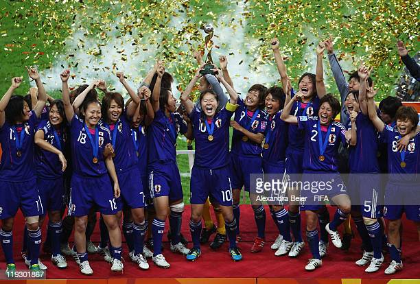 The team of Japan celebrate their victory of the FIFA Women's World Cup Final match between Japan and USA at the FIFA World Cup stadium Frankfurt on...