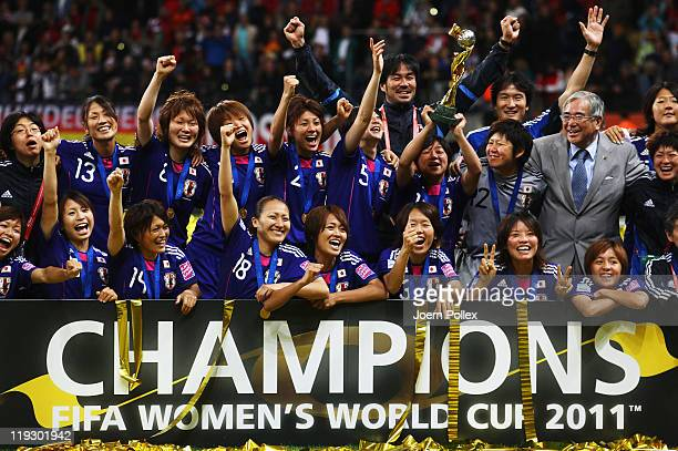 The team of Japan celebrates after winning the FIFA Women's World Cup Final match between Japan and USA at the FIFA World Cup stadium Frankfurt on...