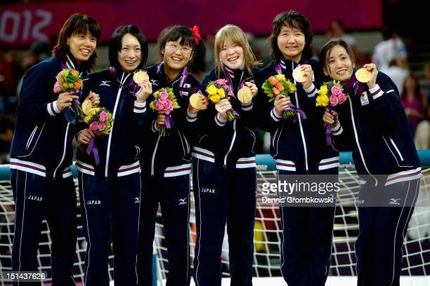 The team of Japan celebrates after winning their Women's Team Goalball Gold Medal match against China on day 9 of the London 2012 Paralympic Games at...