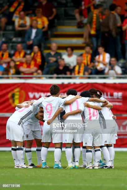 The team of Japan comes together prior to the Women's International Friendly match between Belgium and Japan at Stadium Den Dreef on June 13 2017 in...