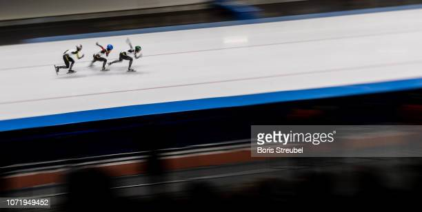 The team of Japan compete in the Women's Team Sprint on day three of the ISU World Cup Speed Skating at Tomaszow Mazoviecki Ice Arena on December 9...