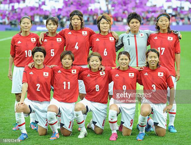 The team of Japan during the Olympic womens final match between USA and Japan on day 13 of the London 2012 Olympic Games at Wembley Stadium on August...