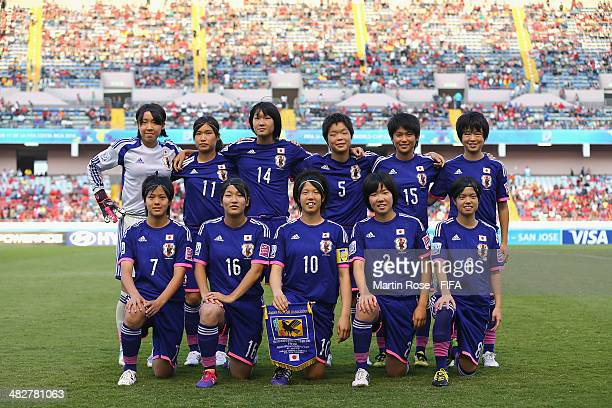 The team of Japan line up before the FIFA U17 Women's World Cup 2014 final match between Japan and Spain at Estadio Nacional on April 4 2014 in San...