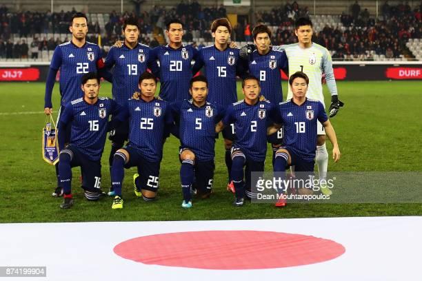 The team of Japan line up during the international friendly match between Belgium and Japan held at Jan Breydel Stadium on November 14 2017 in Brugge...