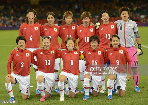 The team of Japan lines up during the Women's Football first round Group F Match between Japan and South Africa on Day 4 of the London 2012 Olympic...