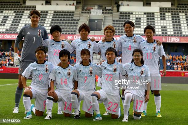 The team of Japan poses during the Women's International Friendly match between Belgium and Japan at Stadium Den Dreef on June 13 2017 in Leuven...