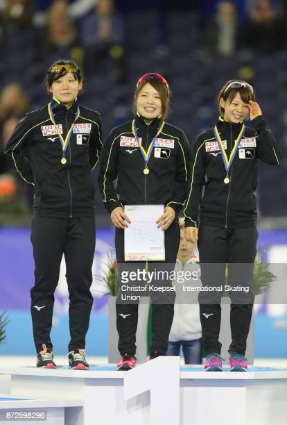 The team of Japan with Miho Takagi Ayano Sato and Nana Takagi of Japan pose during the medal ceremony after winning the 1st place of the ladies team...