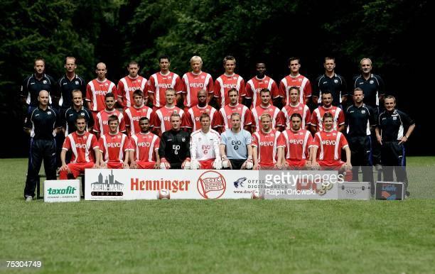 The team of Kickers Offenbach physiotherapist Dieter Schaefer helper Eric Wege Stephan Sieger Sean Dundee Dino Toppmoeller Manuel Hornig Nico Bungert...