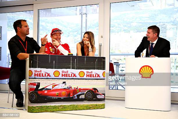 The team of Kimi Raikkonen of Finland and Ferrari at the Shell F1 quiz with Ted Kravitz Sky Sports F1 Federica Masolin sky F1 Italy and host David...